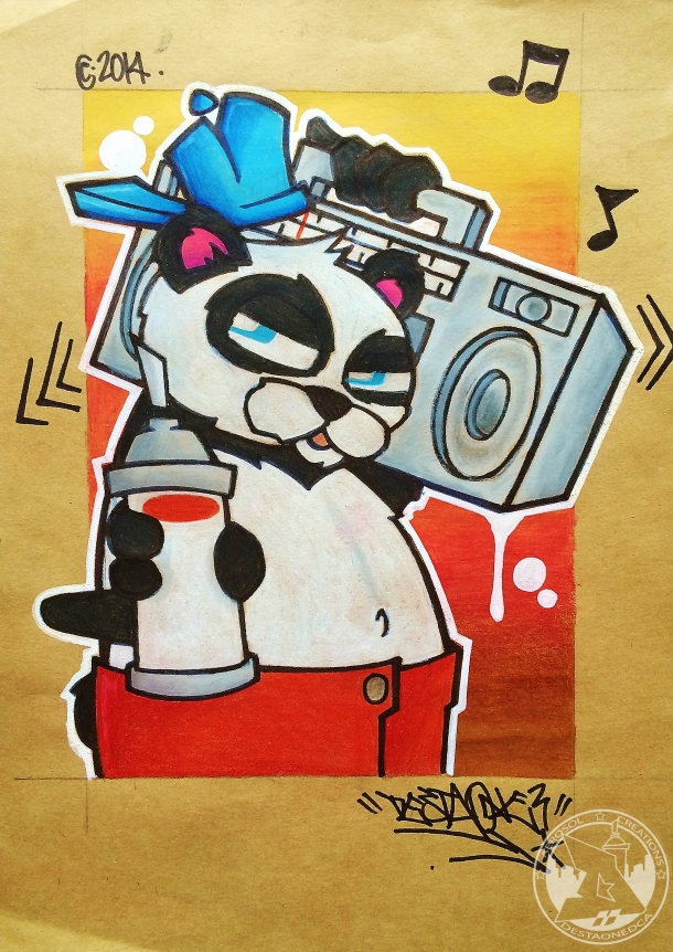A4 BBoy Panda. Colored pencil n Ink